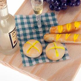 Vassoio in legno con vino pane uva presepe fai da te s2