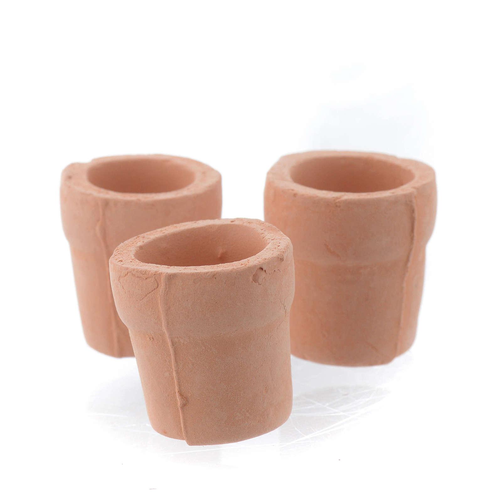 Nativity set accessory, set of 3 terracotta jars 4