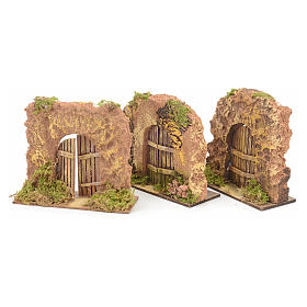 Nativity set accessory, cork wall with arch door s2