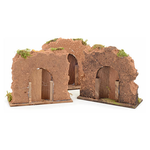 Nativity set accessory, cork wall with arch door 3