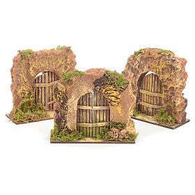 Nativity set accessory, cork wall with arch door s1