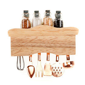 Nativity set accessory, kitchen top with tools and spices s2