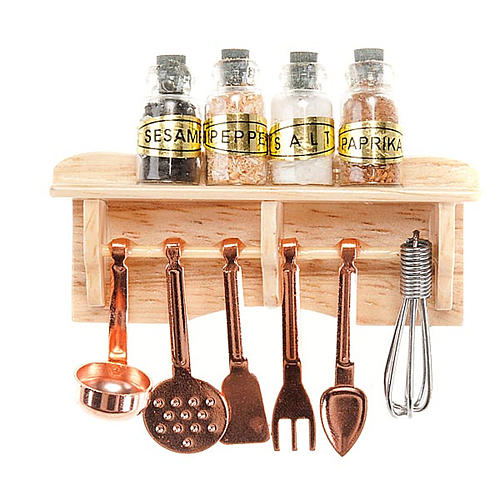 Nativity set accessory, kitchen top with tools and spices 1