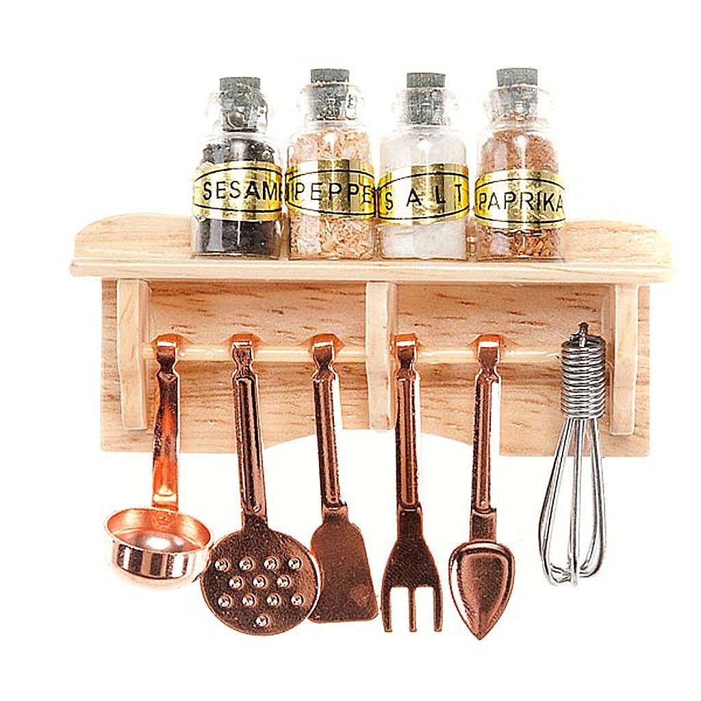 Rellano de cocina con cazos y especias para el pesebre 4