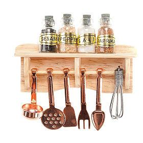Aliments en miniature: Accessoire crèche, tablette cuisine cuillères et épices