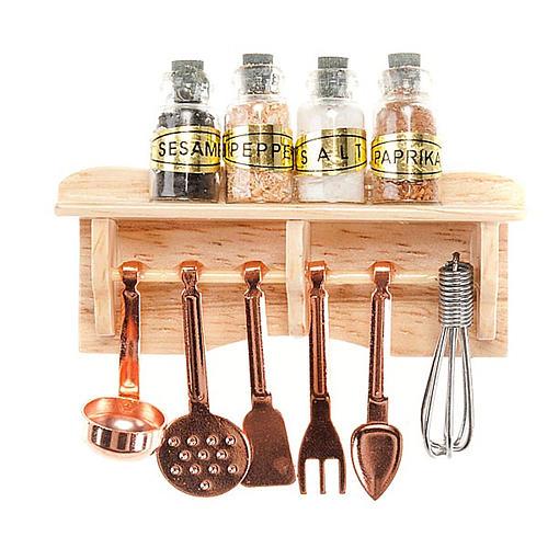 Prateleira de cozinha com conchas e especiarias bricolagem presépio 1