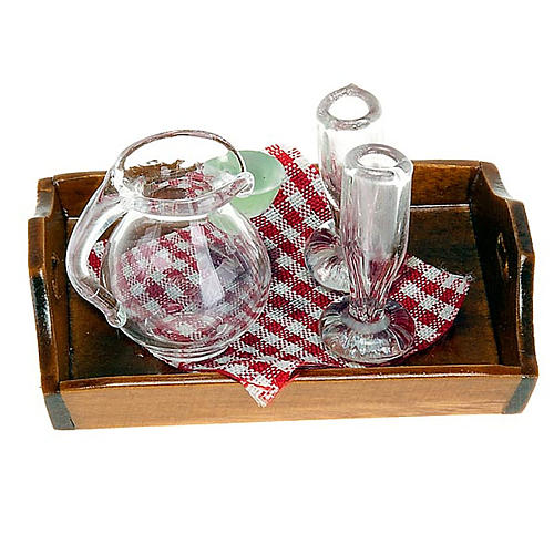 Nativity set accessory, tray with jug and 2 glasses 1