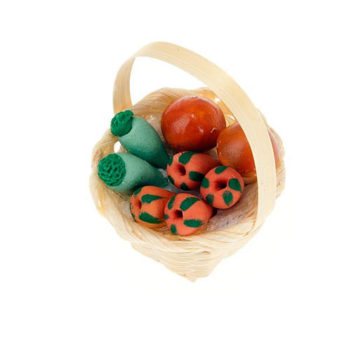 Nativity set accessory, wicker basket with vegetables 1