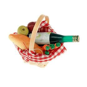 Comida em Miniatura para Presépio: Cesta de vime com toalha vinho pão para personalizar presépio