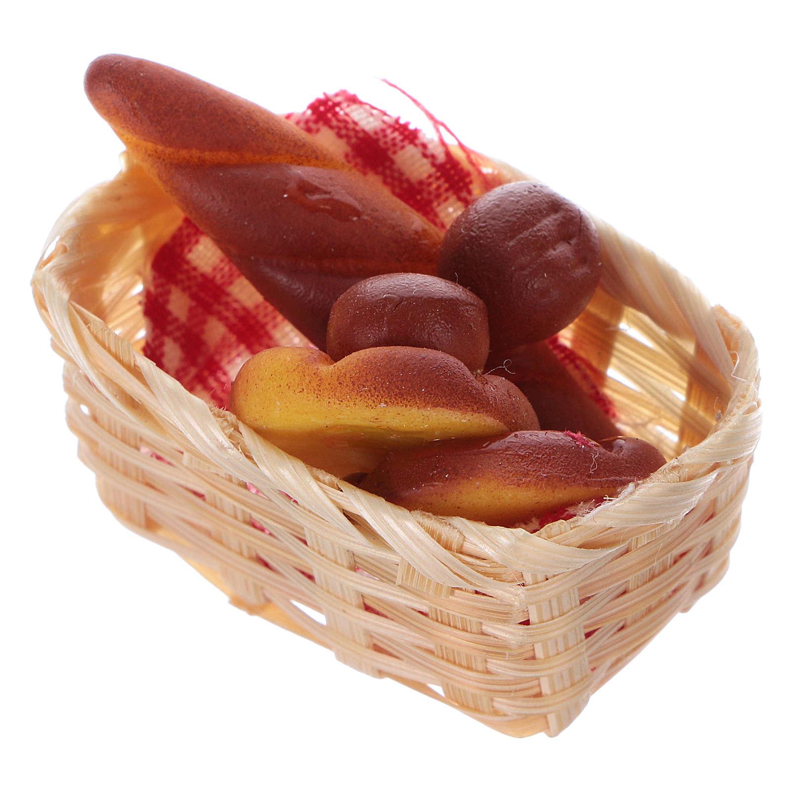 nativity set accessory, wicker basket with bread 4