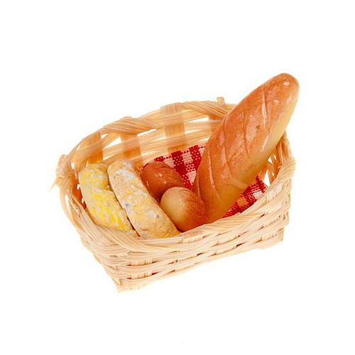 nativity set accessory, wicker basket with bread 1
