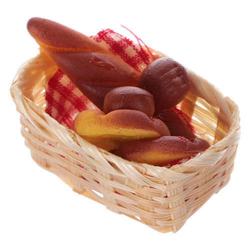 nativity set accessory, wicker basket with bread 2