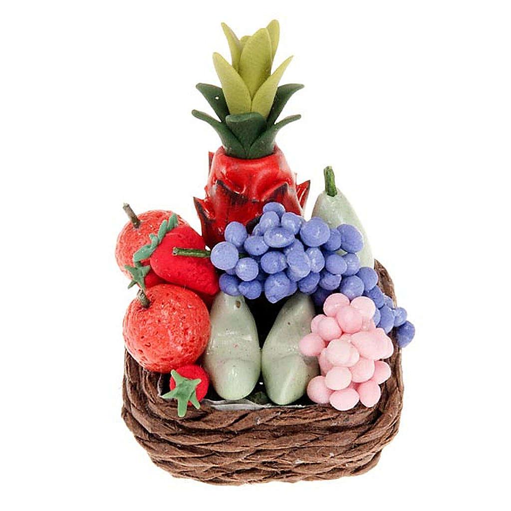 Cesto di vimini con frutta e ananas per presepe fai da te 4