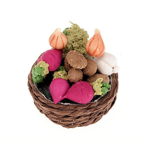 Nativity set accessory,wicker basket with turnips and vegetables 1