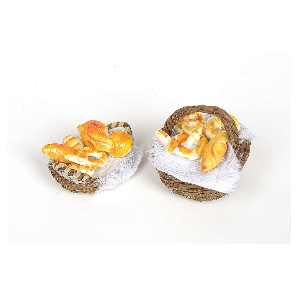 Cesto di vimini con pane e tessuto con manico presepe fai da te 4
