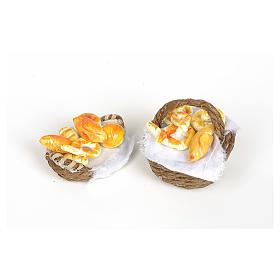 Comida em Miniatura para Presépio: Cesta de vime com pão e tecido com asa para personalização presépio