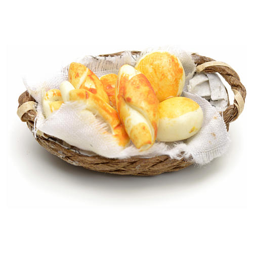 Nativity set accessory, wicker basket with handle and bread 3
