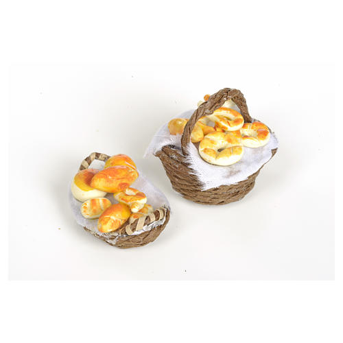 Nativity set accessory, wicker basket with handle and bread 6