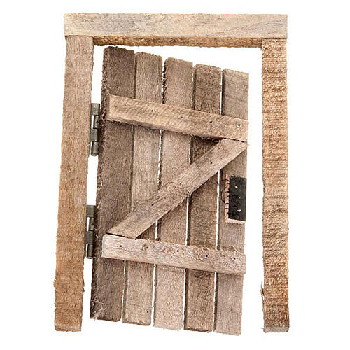 Porta in legno con stipite e cardini per presepe 1