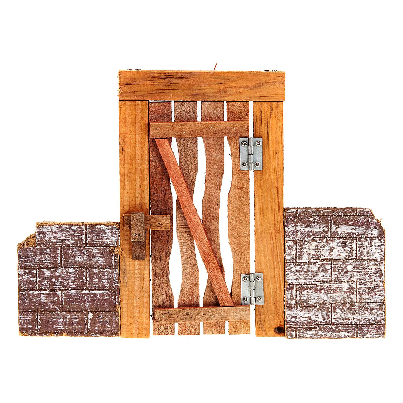 Porta in legno con stipite, cardini e muretto per presepe 4