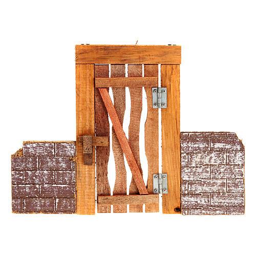 Porta in legno con stipite, cardini e muretto per presepe 2