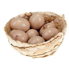 Miniature food: Nativity set accessory, wicker basket with eggs