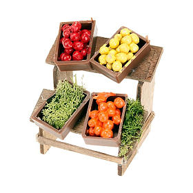 Nativity set accessory, market stall with fruit boxes s2