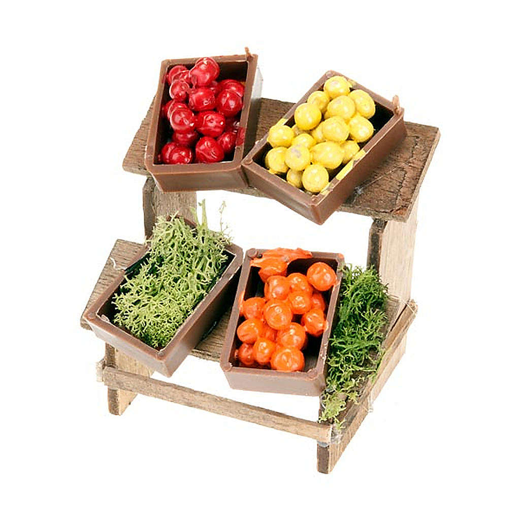 Nativity set accessory, market stall with fruit boxes 4