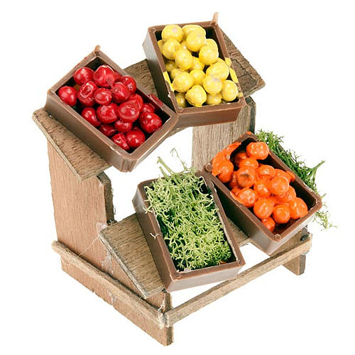 Nativity set accessory, market stall with fruit boxes 1