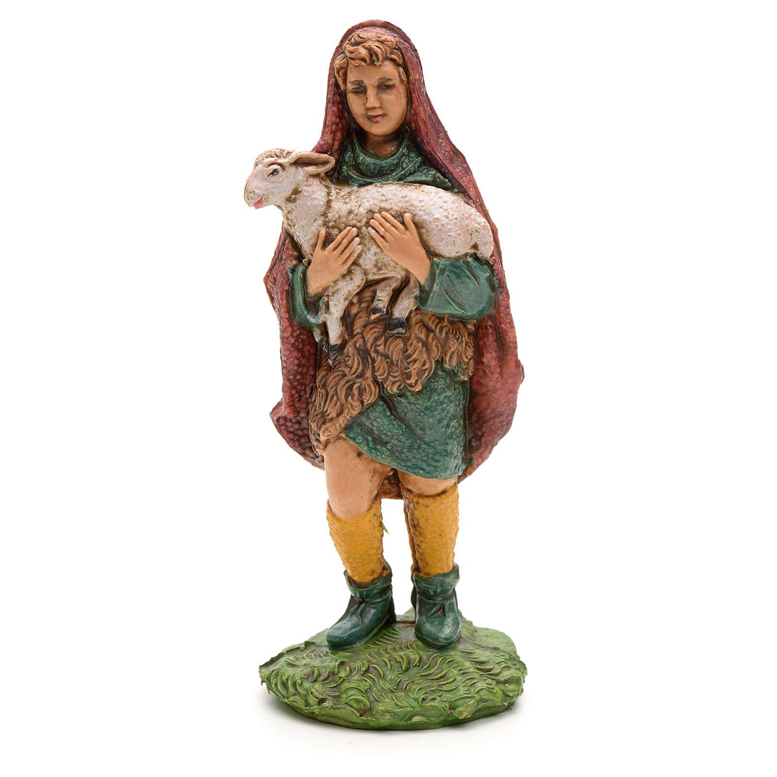 Nativity figurine, shepherd holding lamb in arms 10cm 3
