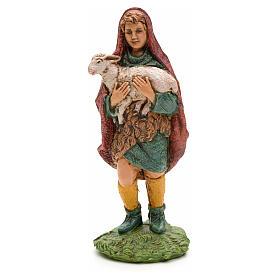 Nativity figurine, shepherd holding lamb in arms 10cm s1