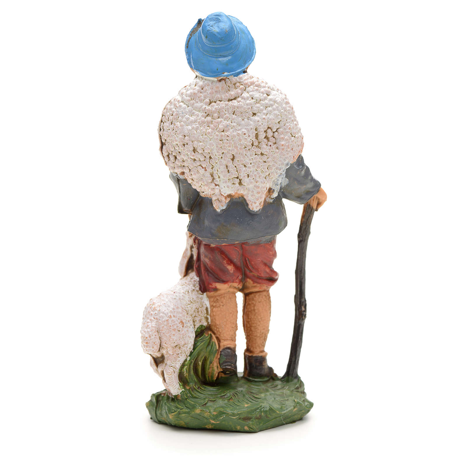Nativity figurine, shepherd with sheep and stick 10cm 3