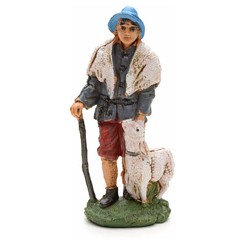 Nativity figurine, shepherd with sheep and stick 10cm 1