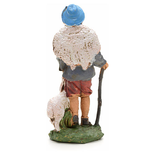 Nativity figurine, shepherd with sheep and stick 10cm 2