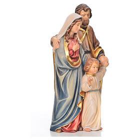 Sacra Famiglia in piedi legno dipinto Val Gardena s16