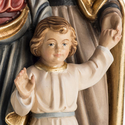Sacra Famiglia in piedi legno dipinto Val Gardena 4