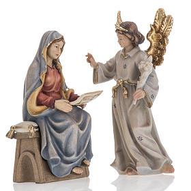 Belén Val Gardena: Anuncio del ángel a la Virgen María madera pintada