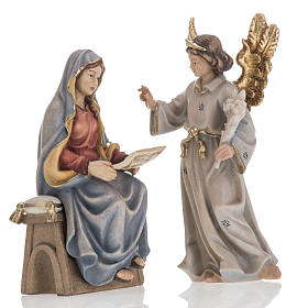 Crèche Noël Val Gardena: Annonciation de l'Ange Gabriel à Marie bois peint