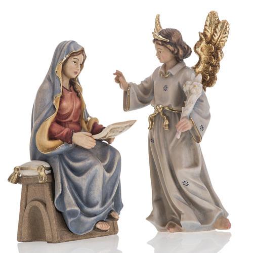 Annonciation de l'Ange Gabriel à Marie bois peint 1