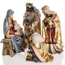 Crèche Noël Val Gardena: Adoration des Mages bois peint Val Gardena
