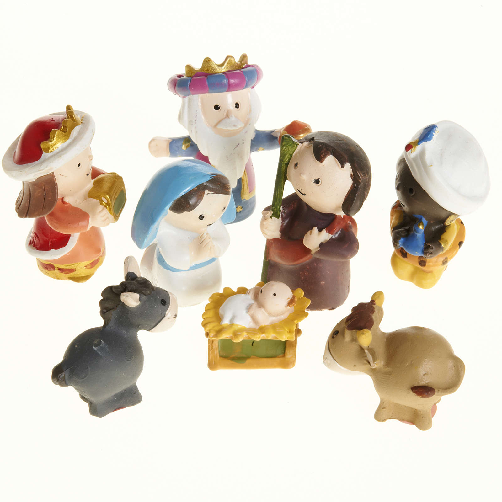 Nativity scene in coloured resin, 8 figurines 4,5cm 4