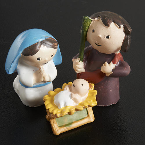 Nativity scene in coloured resin, 8 figurines 4,5cm 2