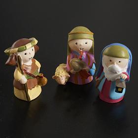 Nativity scene in coloured resin, 20 figurines 4,5cm s4
