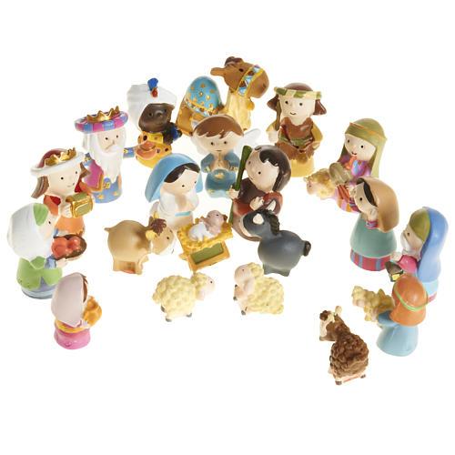 Nativity scene in coloured resin, 20 figurines 4,5cm 1