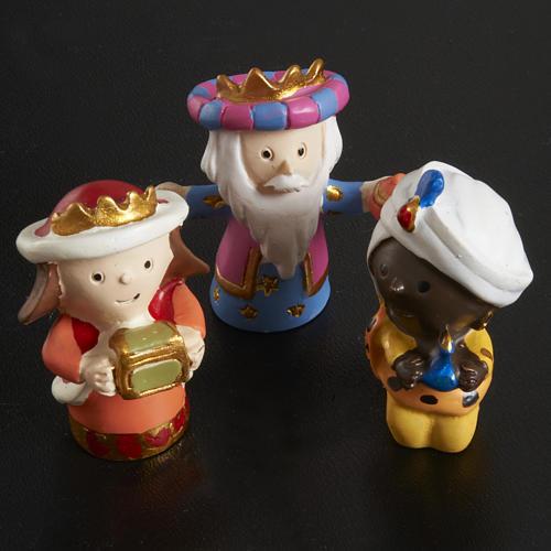 Nativity scene in coloured resin, 20 figurines 4,5cm 3