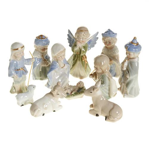 Nativity scene in ceramic, 11 figurines 10cm 1
