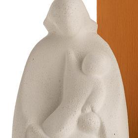 Nativity scene Noel model in white clay and orange natural wood, s3