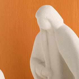 Nativity scene Noel model in white clay and orange natural wood, s4
