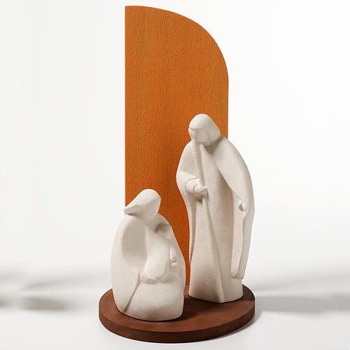 Nativity scene Noel model in white clay and orange natural wood, 1