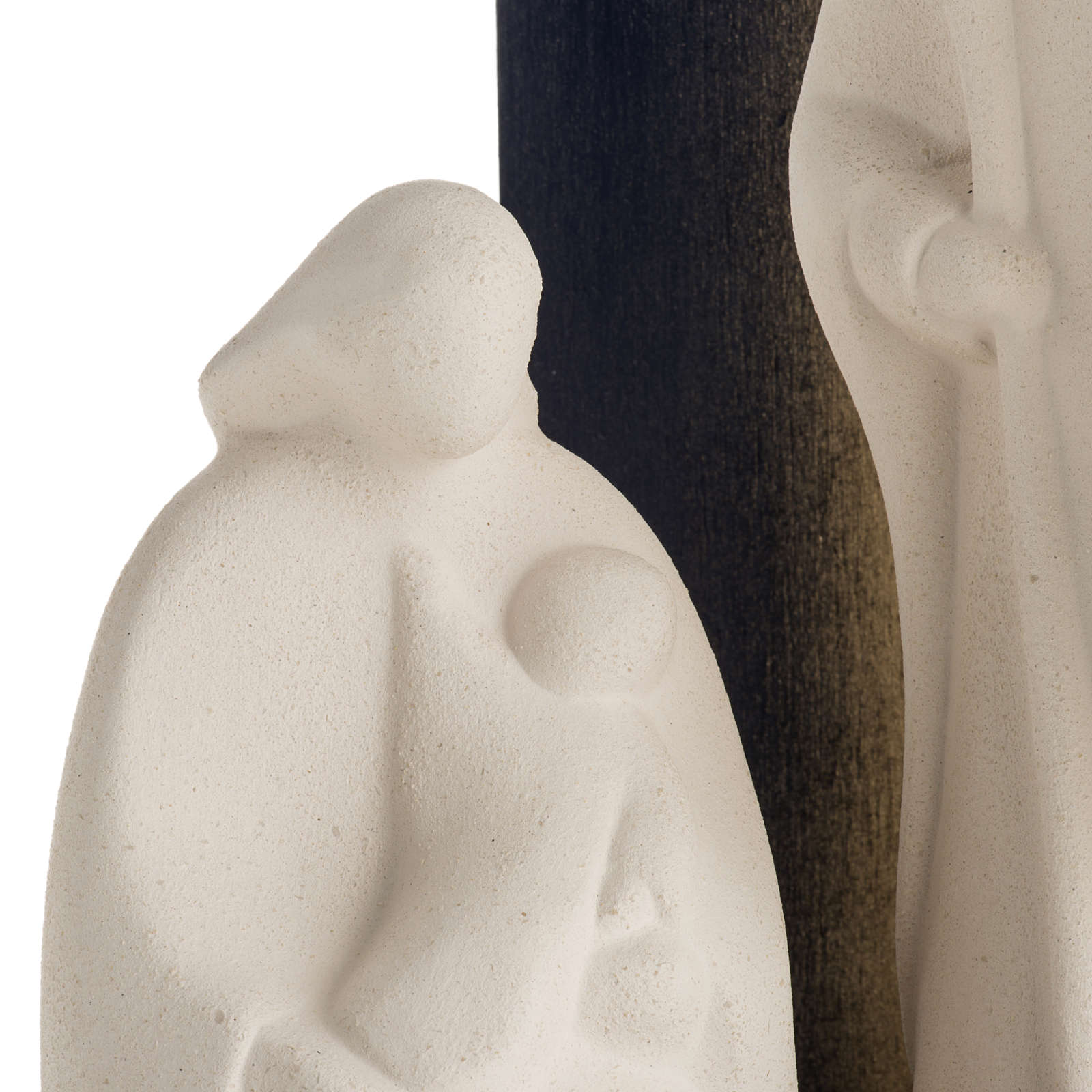 Nativity scene Noel model in white clay and gold natural wood,28 4